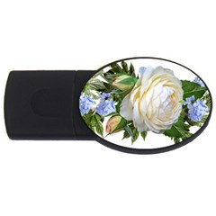 Rose White Flower Plumbago Usb Flash Drive Oval (2 Gb)