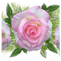 Roses Pink Flowers Perfume Leaves Wooden Puzzle Square