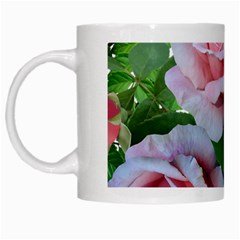 Roses Pink Flowers Leaves White Mugs