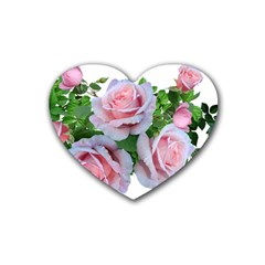 Roses Pink Flowers Leaves Rubber Coaster (heart)