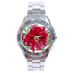Flowers Red Peony Arrangement Stainless Steel Analogue Watch