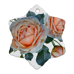 Roses Flowers Buds Ragrance Snowflake Ornament (two Sides)