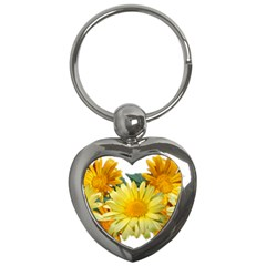 Daisies Flowers Yellow Arrangement Key Chain (heart)