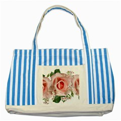 Roses Flowers Wax Flowers Striped Blue Tote Bag