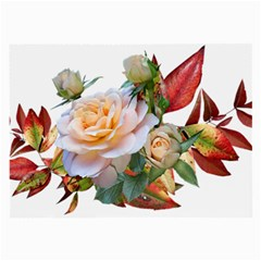 Autumn Leaves Roses Flowers Garden Large Glasses Cloth (2 Sides)