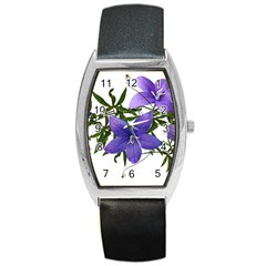Flowers Blue Campanula Arrangement Barrel Style Metal Watch