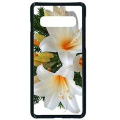 Lilies Belladonna White Flowers Samsung Galaxy S10 Seamless Case(black)