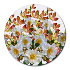 Flowers Roses Leaves Autumn Round Mousepads
