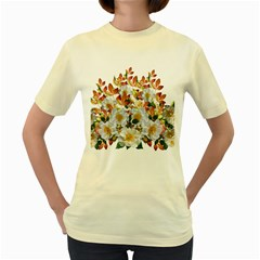 Flowers Roses Leaves Autumn Women s Yellow T Shirt