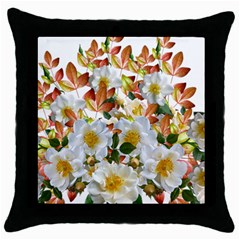 Flowers Roses Leaves Autumn Throw Pillow Case (black)