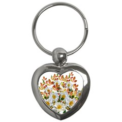 Flowers Roses Leaves Autumn Key Chain (heart)