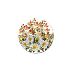 Flowers Roses Leaves Autumn Golf Ball Marker