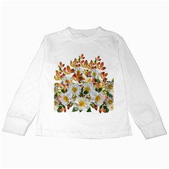 Flowers Roses Leaves Autumn Kids Long Sleeve T Shirts