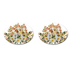 Flowers Roses Leaves Autumn Cufflinks (oval)