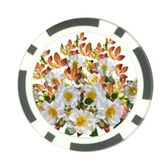 Flowers Roses Leaves Autumn Poker Chip Card Guard