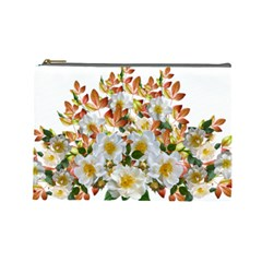 Flowers Roses Leaves Autumn Cosmetic Bag (large)