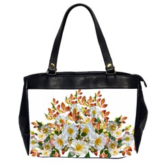 Flowers Roses Leaves Autumn Oversize Office Handbag (2 Sides)