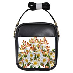 Flowers Roses Leaves Autumn Girls Sling Bag