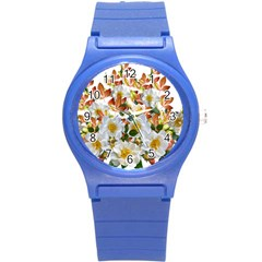 Flowers Roses Leaves Autumn Round Plastic Sport Watch (s)