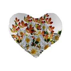 Flowers Roses Leaves Autumn Standard 16  Premium Heart Shape Cushions