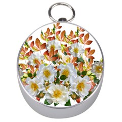 Flowers Roses Leaves Autumn Silver Compasses