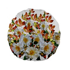 Flowers Roses Leaves Autumn Standard 15  Premium Flano Round Cushions