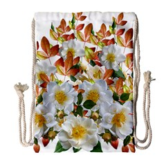 Flowers Roses Leaves Autumn Drawstring Bag (large)