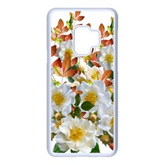 Flowers Roses Leaves Autumn Samsung Galaxy S9 Seamless Case(white)