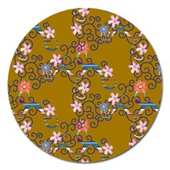 Textile Flowers Pattern Magnet 5  (round) by HermanTelo