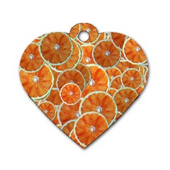 Oranges Background Dog Tag Heart (two Sides)