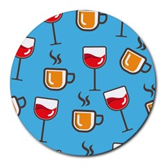Cups And Mugs Blue Round Mousepads