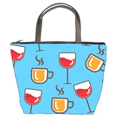 Cups And Mugs Blue Bucket Bag by HermanTelo