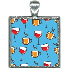 Cups And Mugs Blue Square Necklace