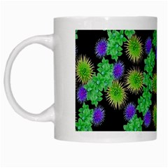 Flowers Pattern Background White Mugs
