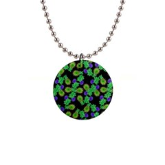 Flowers Pattern Background 1  Button Necklace