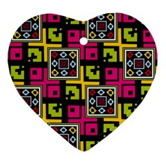 Squares Pattern                                  Ornament (heart) by LalyLauraFLM