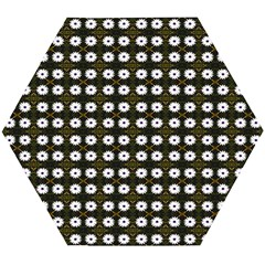 White Flower Pattern On Yellow Black Wooden Puzzle Hexagon by BrightVibesDesign