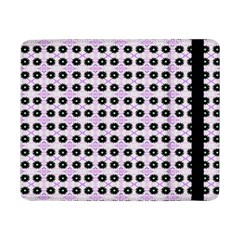 Black Flower On Pink White Pattern Samsung Galaxy Tab Pro 8 4  Flip Case by BrightVibesDesign