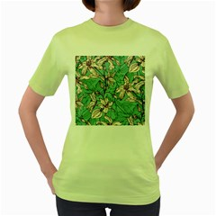 Vintage Floral Pattern Women s Green T-shirt by Sobalvarro