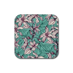 Vintage Floral Pattern Rubber Coaster (square)  by Sobalvarro