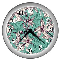 Vintage Floral Pattern Wall Clock (silver) by Sobalvarro
