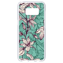 Vintage Floral Pattern Samsung Galaxy S8 White Seamless Case by Sobalvarro