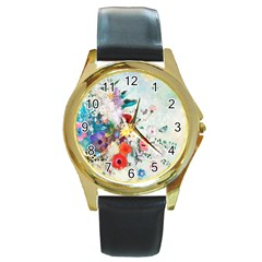 Floral Bouquet Round Gold Metal Watch by Sobalvarro