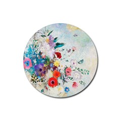 Floral Bouquet Rubber Round Coaster (4 Pack)  by Sobalvarro