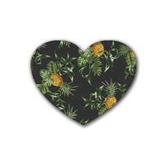 Pineapples Pattern Rubber Coaster (heart)  by Sobalvarro