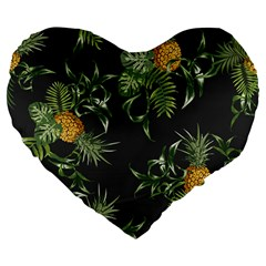 Pineapples Pattern Large 19  Premium Flano Heart Shape Cushions by Sobalvarro