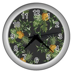 Pineapples Pattern Wall Clock (silver) by Sobalvarro