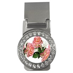 Roses Pink Leaves Flowers Perfume Money Clips (cz)  by Simbadda