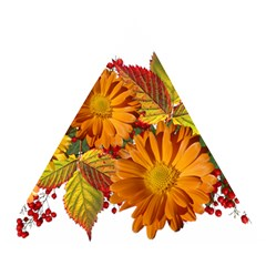 Flowers Arrangement Autumn Daisies Wooden Puzzle Triangle by Simbadda