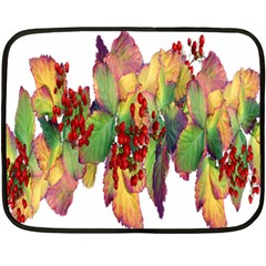 Leaves Autumn Berries Garden Double Sided Fleece Blanket (mini)  by Simbadda
